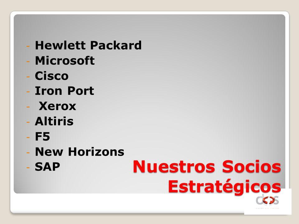 Nuestros Socios Estratégicos - Hewlett Packard - Microsoft - Cisco - Iron Port - Xerox - Altiris - F5 - New Horizons - SAP