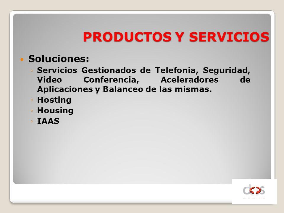 PRODUCTOS Y SERVICIOS Soluciones: Servicios Gestionados de Telefonia, Seguridad, Video Conferencia, Aceleradores de Aplicaciones y Balanceo de las mis