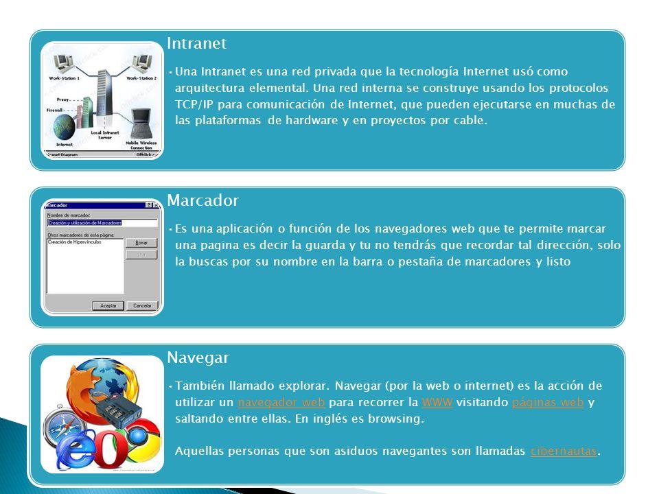 Intranet Una Intranet es una red privada que la tecnología Internet usó como arquitectura elemental. Una red interna se construye usando los protocolo