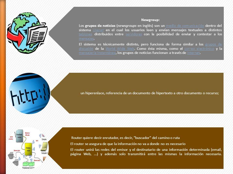 Newgroup: Los grupos de noticias (newsgroups en inglés) son un medio de comunicación dentro del sistema Usenet en el cual los usuarios leen y envían m
