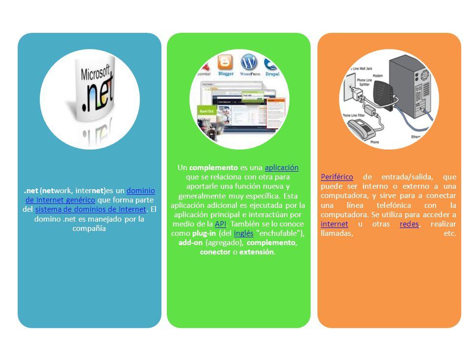 .net (network, internet)es un dominio de Internet genérico que forma parte del sistema de dominios de Internet. El domino.net es manejado por la compa