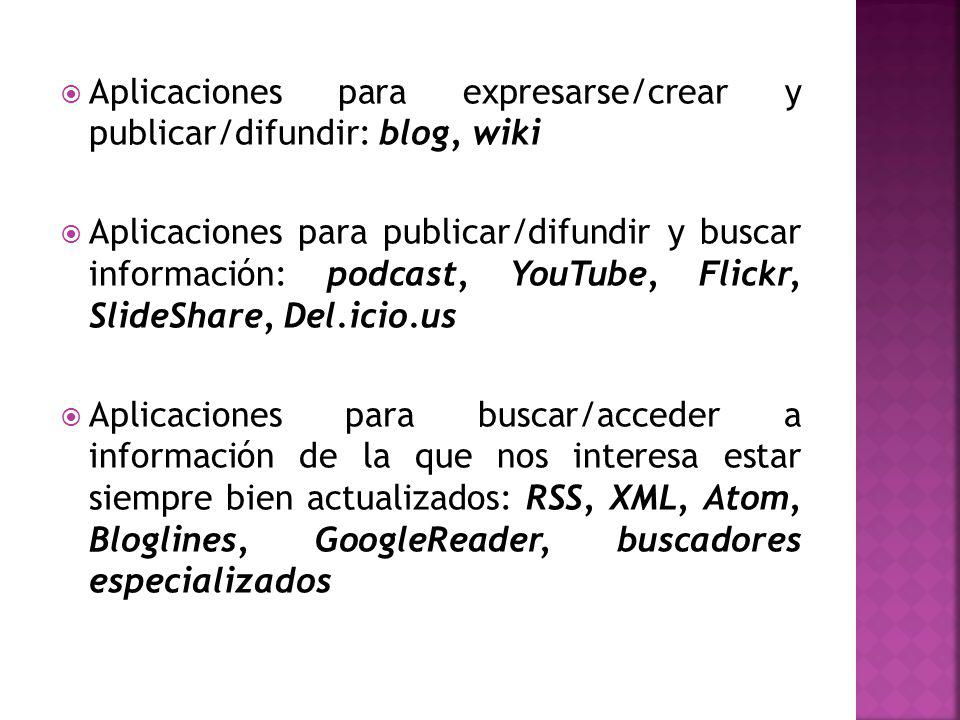 Aplicaciones para expresarse/crear y publicar/difundir: blog, wiki Aplicaciones para publicar/difundir y buscar información: podcast, YouTube, Flickr, SlideShare, Del.icio.us Aplicaciones para buscar/acceder a información de la que nos interesa estar siempre bien actualizados: RSS, XML, Atom, Bloglines, GoogleReader, buscadores especializados