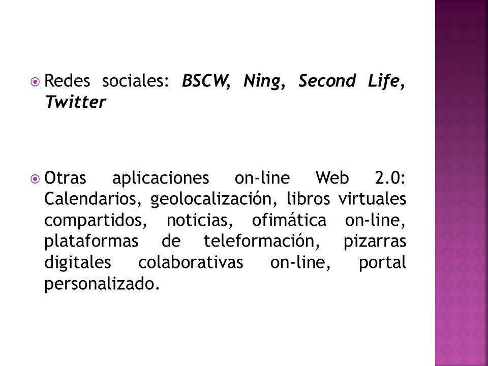 Redes sociales: BSCW, Ning, Second Life, Twitter Otras aplicaciones on-line Web 2.0: Calendarios, geolocalización, libros virtuales compartidos, noticias, ofimática on-line, plataformas de teleformación, pizarras digitales colaborativas on-line, portal personalizado.