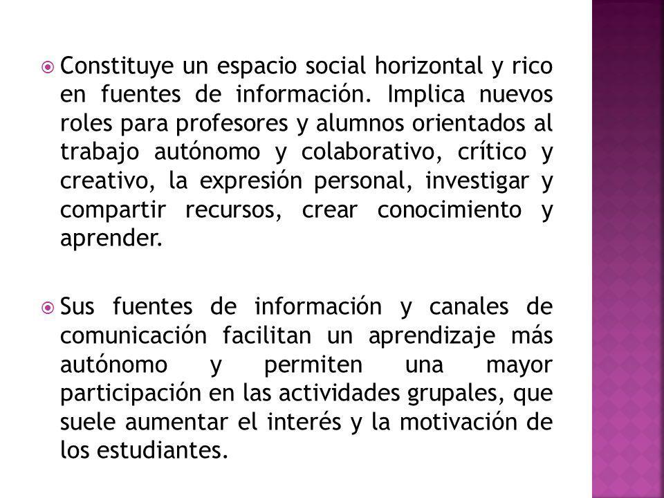 Constituye un espacio social horizontal y rico en fuentes de información.