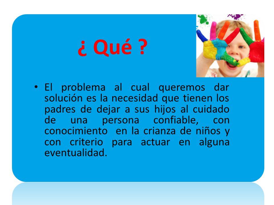 ¿ Qué ? El problema al cual queremos dar solución es la necesidad que tienen los padres de dejar a sus hijos al cuidado de una persona confiable, con