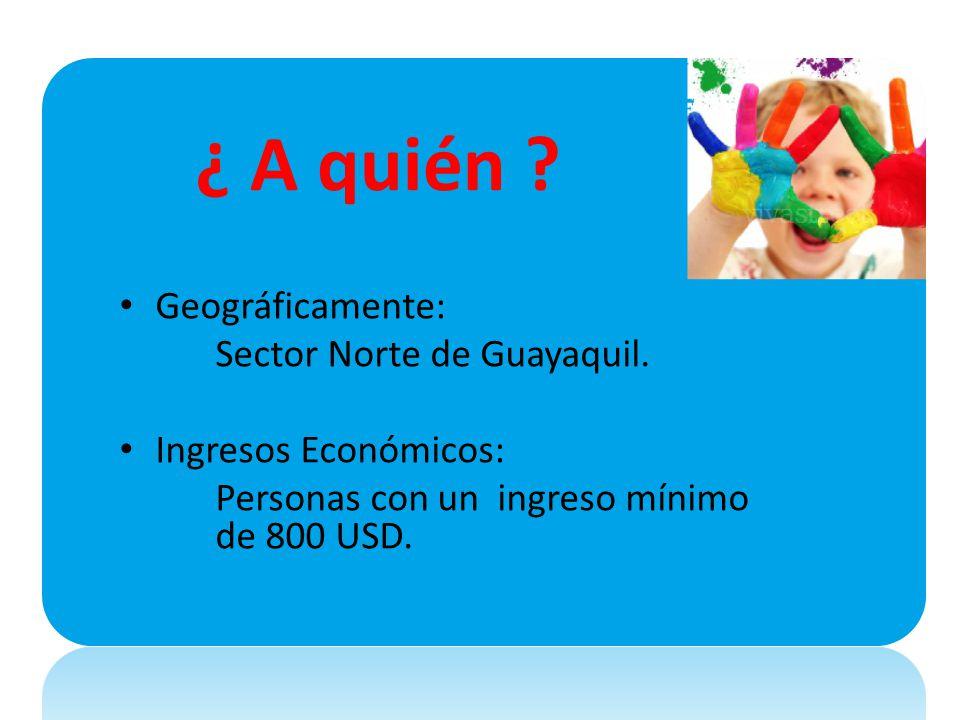 ¿ A quién ? Geográficamente: Sector Norte de Guayaquil. Ingresos Económicos: Personas con un ingreso mínimo de 800 USD.
