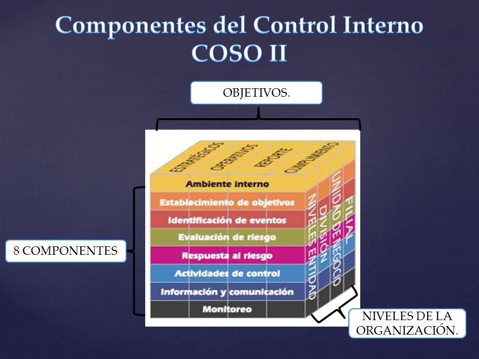 OBJETIVOS. 8 COMPONENTES NIVELES DE LA ORGANIZACIÓN.