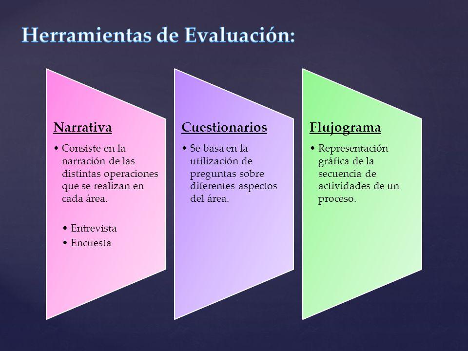 Narrativa Consiste en la narración de las distintas operaciones que se realizan en cada área. Entrevista Encuesta Cuestionarios Se basa en la utilizac