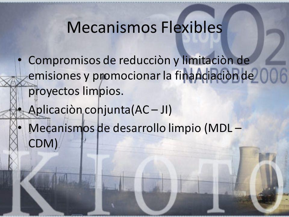 Mecanismos Flexibles Compromisos de reducciòn y limitaciòn de emisiones y promocionar la financiaciòn de proyectos limpios. Aplicaciòn conjunta(AC – J