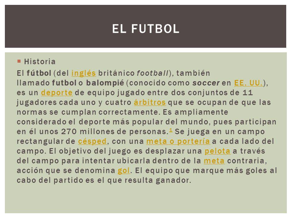 Historia El fútbol (del inglés británico football), también llamado futbol o balompié (conocido como soccer en EE. UU.), es un deporte de equipo jugad
