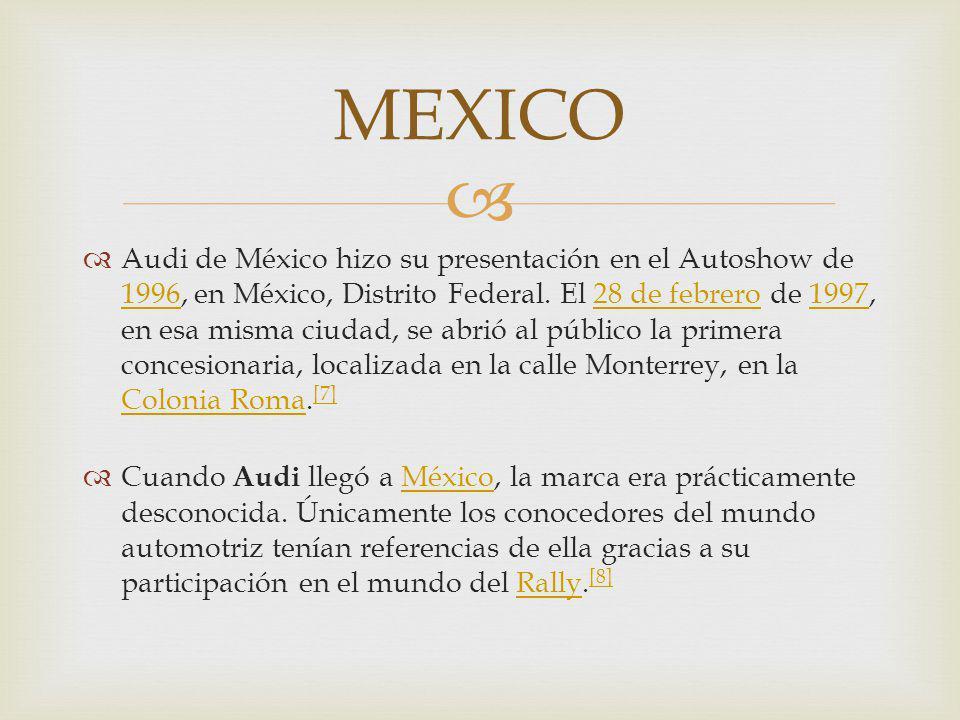 Audi de México hizo su presentación en el Autoshow de 1996, en México, Distrito Federal. El 28 de febrero de 1997, en esa misma ciudad, se abrió al pú