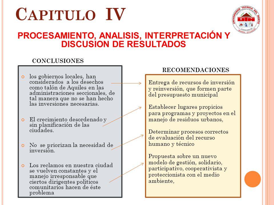 C APITULO IV PROCESAMIENTO, ANALISIS, INTERPRETACIÓN Y DISCUSION DE RESULTADOS CONTRASTACIÓN DE LAS PREGUNTAS DE INVESTIGACIÓN CON LOS RESULTADOS Dete