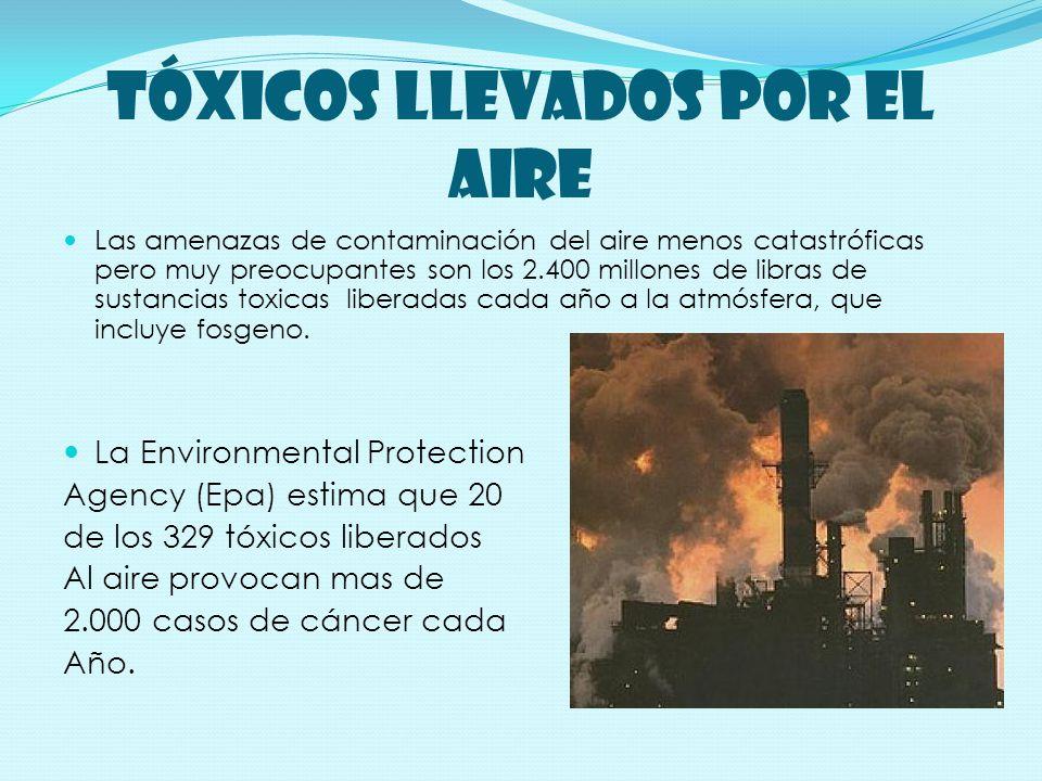TóXICOS LLEVADOS POR EL AIRE Las amenazas de contaminación del aire menos catastróficas pero muy preocupantes son los 2.400 millones de libras de sustancias toxicas liberadas cada año a la atmósfera, que incluye fosgeno.