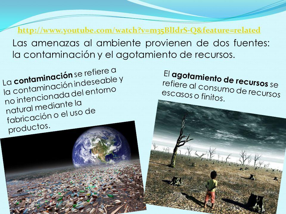 Las amenazas al ambiente provienen de dos fuentes: la contaminación y el agotamiento de recursos.