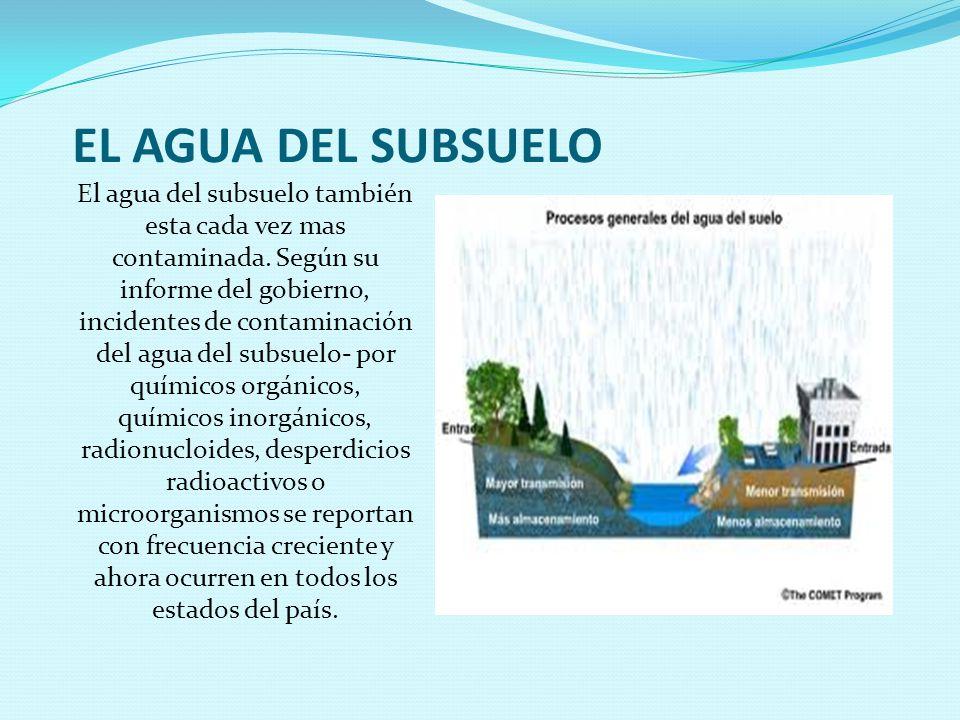 EL AGUA DEL SUBSUELO El agua del subsuelo también esta cada vez mas contaminada.