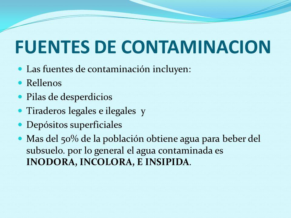 FUENTES DE CONTAMINACION Las fuentes de contaminación incluyen: Rellenos Pilas de desperdicios Tiraderos legales e ilegales y Depósitos superficiales Mas del 50% de la población obtiene agua para beber del subsuelo.