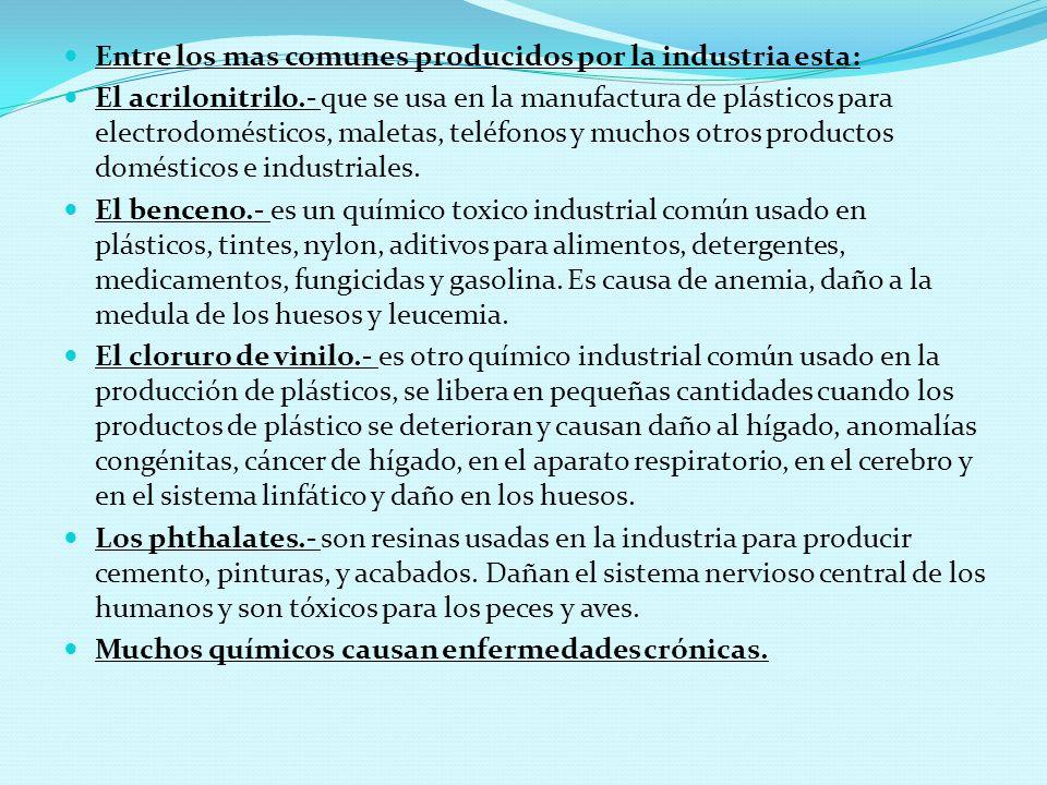 Entre los mas comunes producidos por la industria esta: El acrilonitrilo.- que se usa en la manufactura de plásticos para electrodomésticos, maletas, teléfonos y muchos otros productos domésticos e industriales.