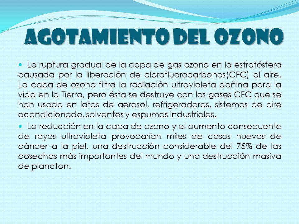 AGOTAMIENTO DEL OZONO La ruptura gradual de la capa de gas ozono en la estratósfera causada por la liberación de clorofluorocarbonos(CFC) al aire.