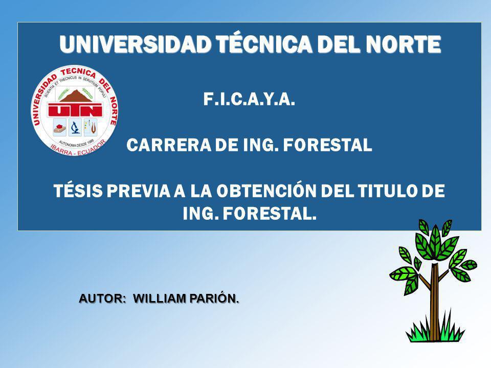 UNIVERSIDAD TÉCNICA DEL NORTE UNIVERSIDAD TÉCNICA DEL NORTE F.I.C.A.Y.A. CARRERA DE ING. FORESTAL TÉSIS PREVIA A LA OBTENCIÓN DEL TITULO DE ING. FORES