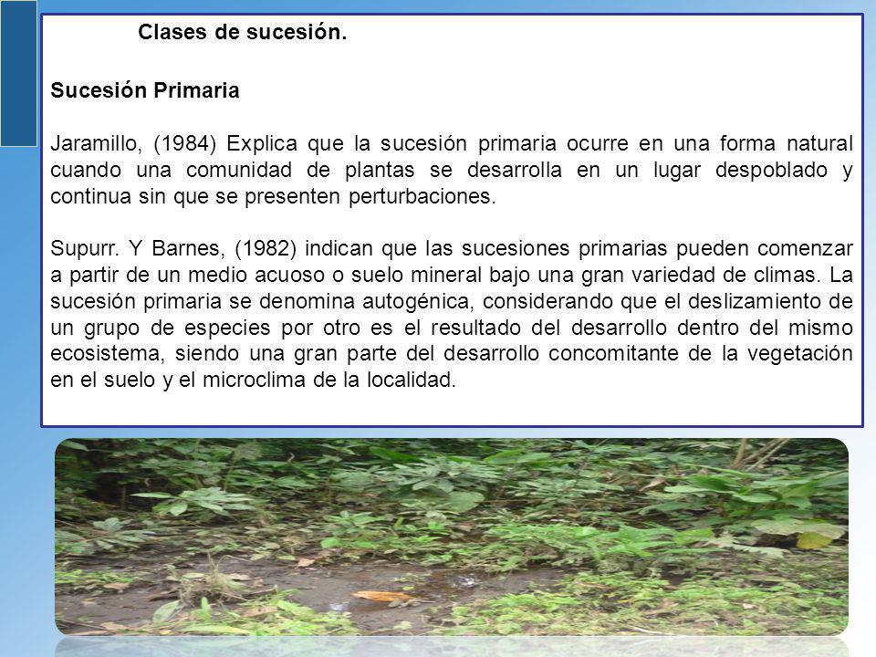 Clases de sucesión. Sucesión Primaria Jaramillo, (1984) Explica que la sucesión primaria ocurre en una forma natural cuando una comunidad de plantas s