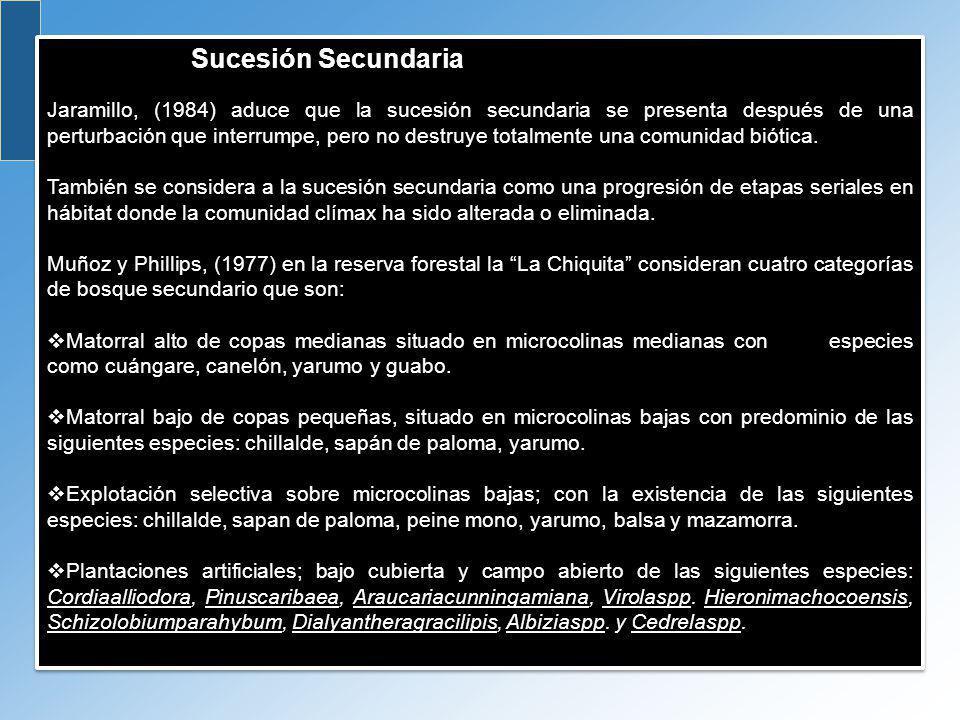 Sucesión Secundaria Jaramillo, (1984) aduce que la sucesión secundaria se presenta después de una perturbación que interrumpe, pero no destruye totalm