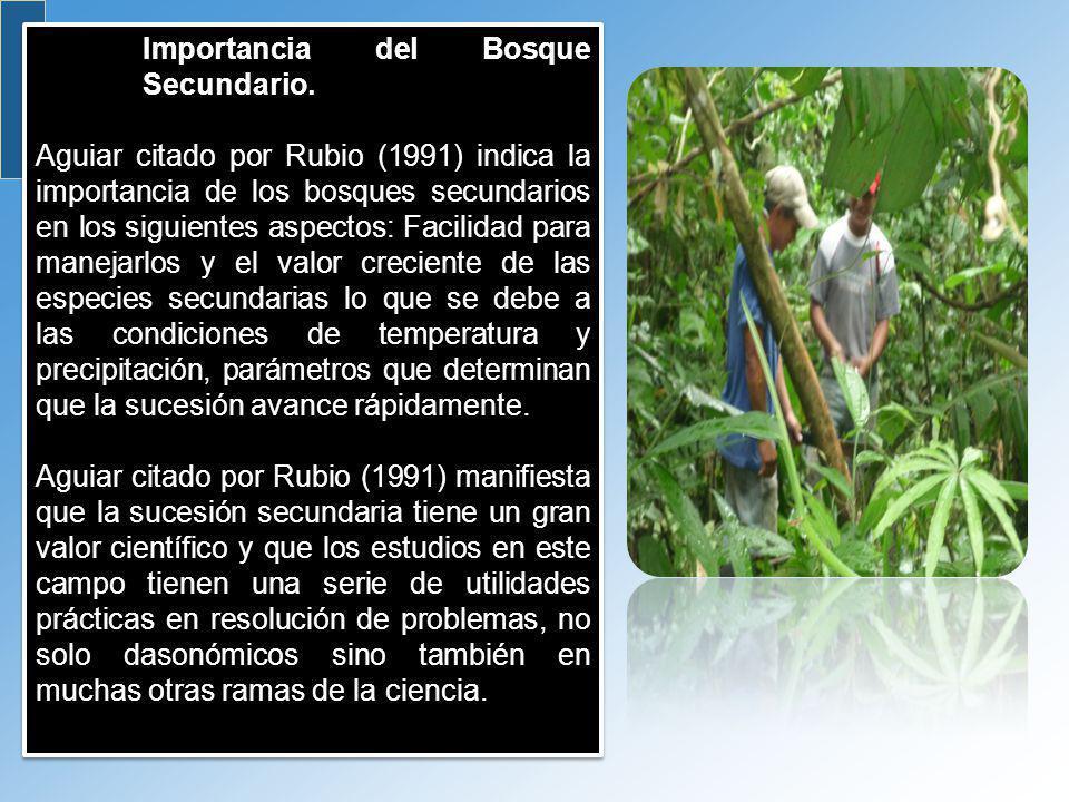Importancia del Bosque Secundario. Aguiar citado por Rubio (1991) indica la importancia de los bosques secundarios en los siguientes aspectos: Facilid