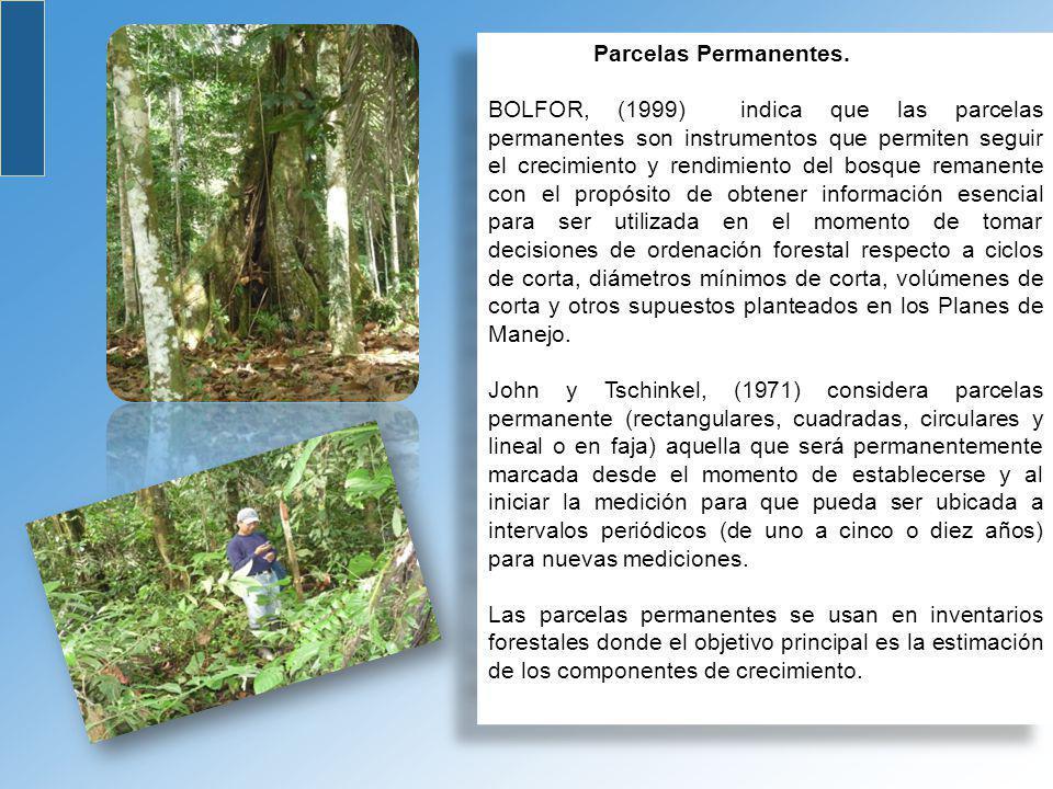 Parcelas Permanentes. BOLFOR, (1999) indica que las parcelas permanentes son instrumentos que permiten seguir el crecimiento y rendimiento del bosque