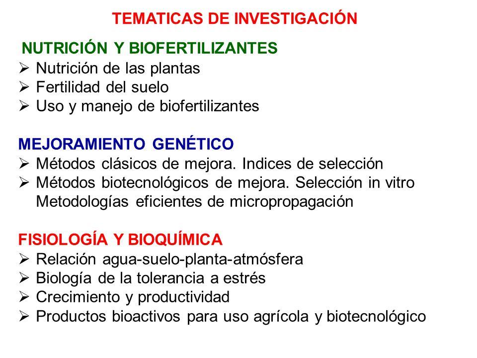 NUTRICIÓN Y BIOFERTILIZANTES Nutrición de las plantas Fertilidad del suelo Uso y manejo de biofertilizantes MEJORAMIENTO GENÉTICO Métodos clásicos de