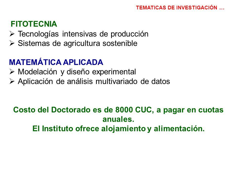 FITOTECNIA Tecnologías intensivas de producción Sistemas de agricultura sostenible MATEMÁTICA APLICADA Modelación y diseño experimental Aplicación de