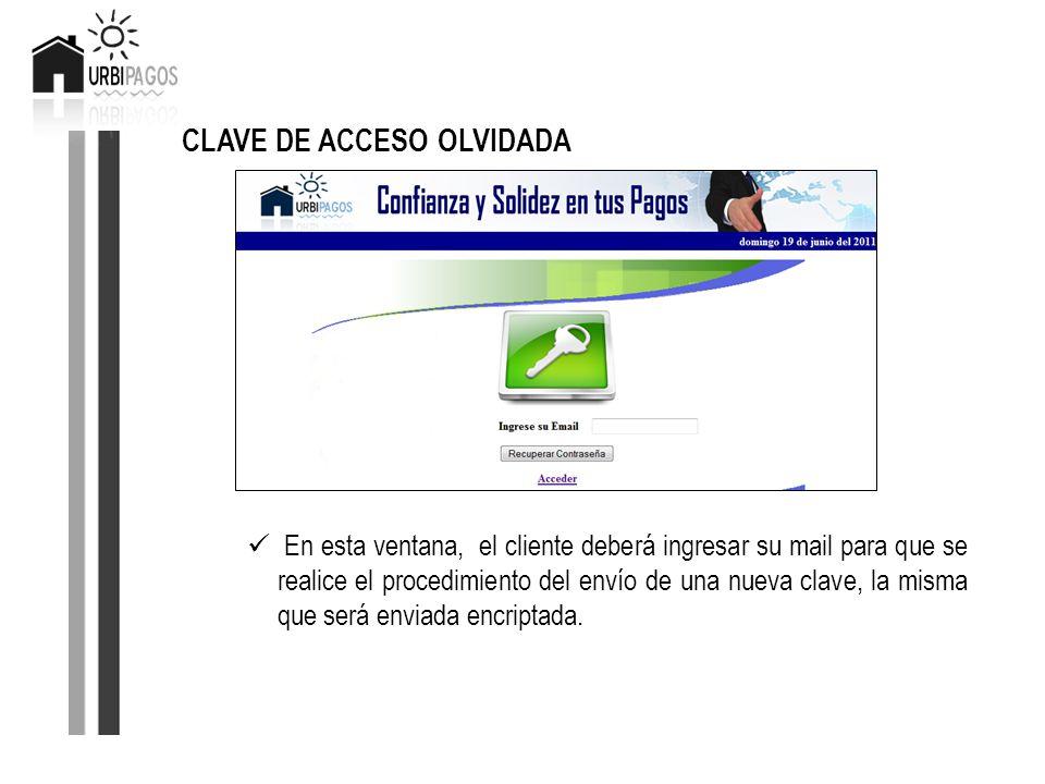 CLAVE DE ACCESO OLVIDADA En esta ventana, el cliente deberá ingresar su mail para que se realice el procedimiento del envío de una nueva clave, la mis