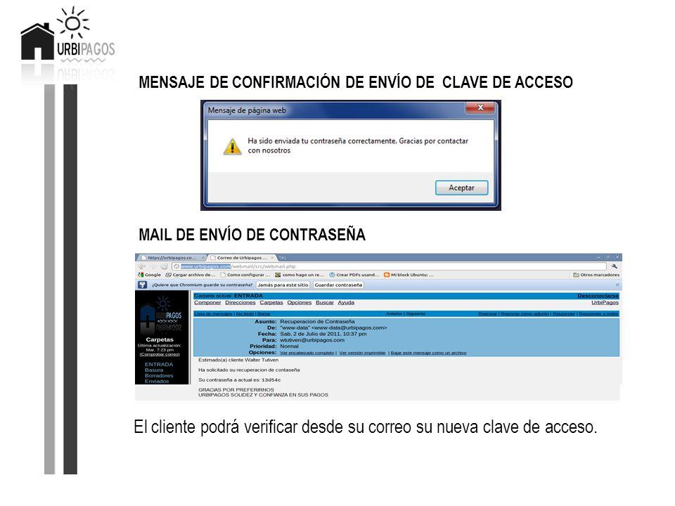 MENSAJE DE CONFIRMACIÓN DE ENVÍO DE CLAVE DE ACCESO MAIL DE ENVÍO DE CONTRASEÑA El cliente podrá verificar desde su correo su nueva clave de acceso.