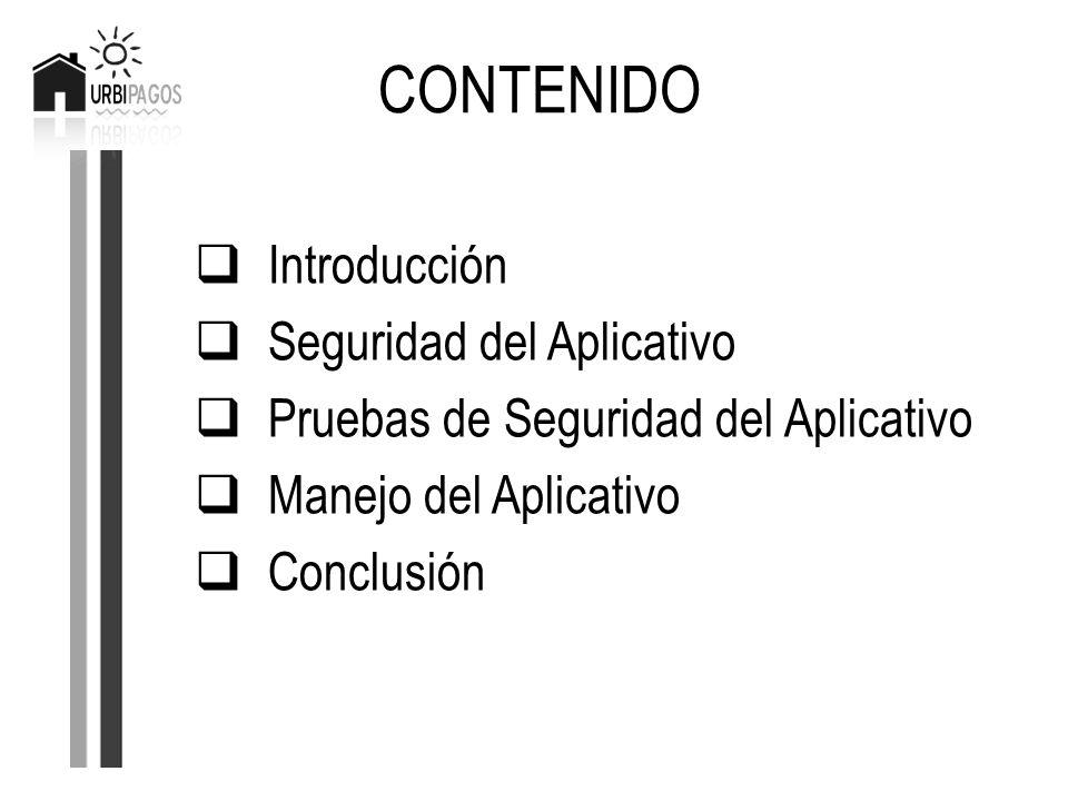 Introducción Seguridad del Aplicativo Pruebas de Seguridad del Aplicativo Manejo del Aplicativo Conclusión CONTENIDO