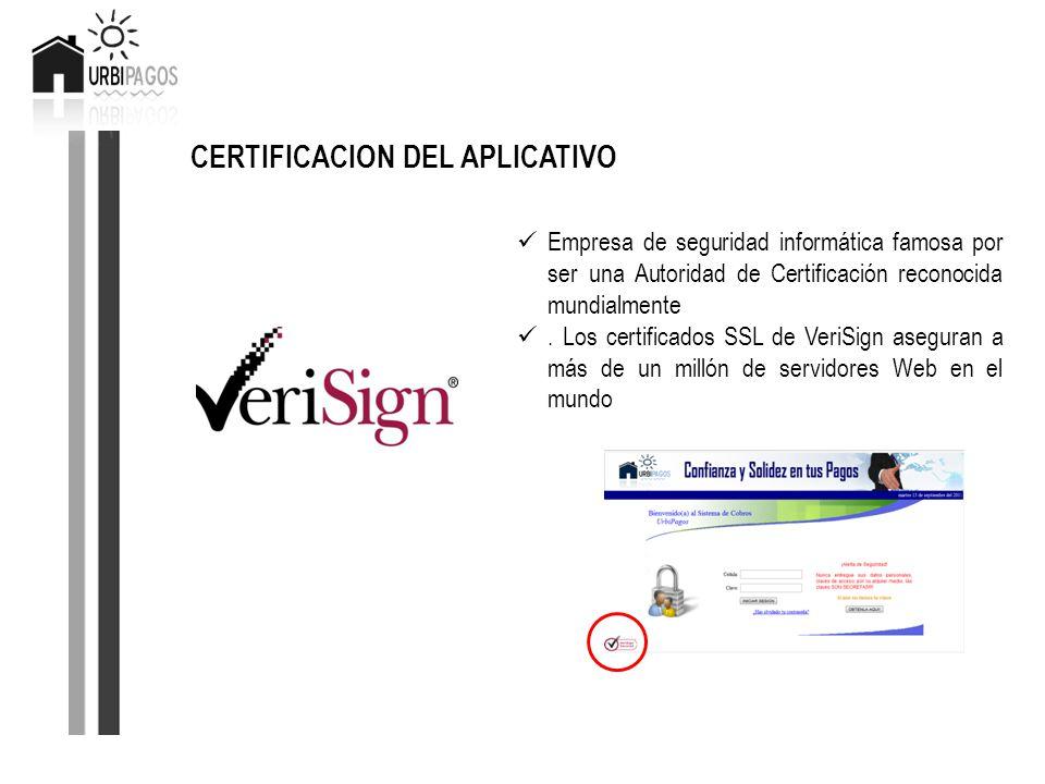CERTIFICACION DEL APLICATIVO Empresa de seguridad informática famosa por ser una Autoridad de Certificación reconocida mundialmente. Los certificados