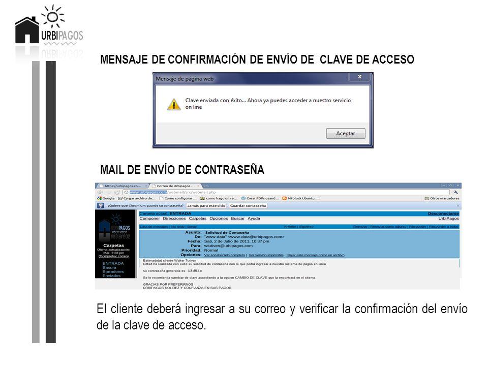 MENSAJE DE CONFIRMACIÓN DE ENVÍO DE CLAVE DE ACCESO MAIL DE ENVÍO DE CONTRASEÑA El cliente deberá ingresar a su correo y verificar la confirmación del