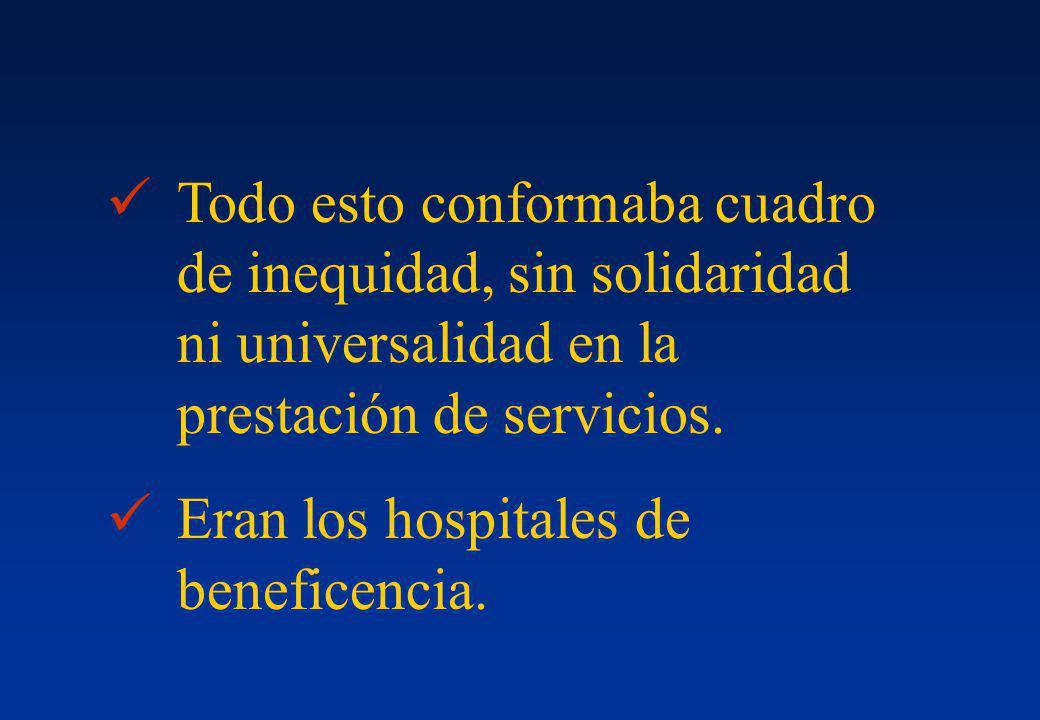 Todo esto conformaba cuadro de inequidad, sin solidaridad ni universalidad en la prestación de servicios. Eran los hospitales de beneficencia.