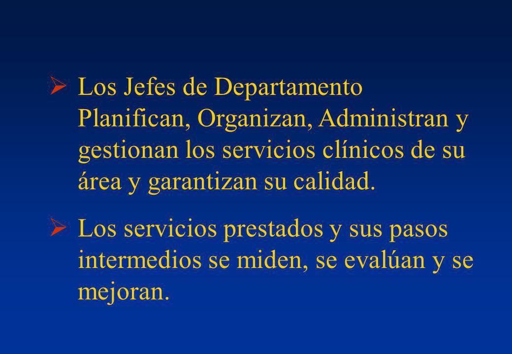 Los Jefes de Departamento Planifican, Organizan, Administran y gestionan los servicios clínicos de su área y garantizan su calidad.