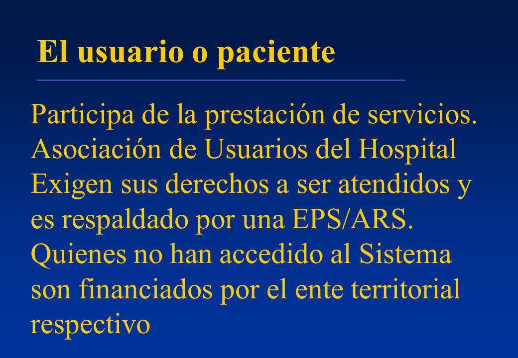 El usuario o paciente Participa de la prestación de servicios.