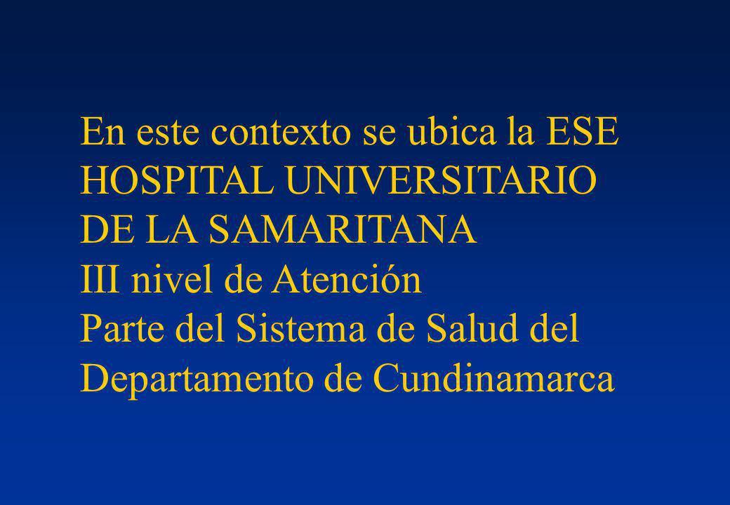En este contexto se ubica la ESE HOSPITAL UNIVERSITARIO DE LA SAMARITANA III nivel de Atención Parte del Sistema de Salud del Departamento de Cundinam