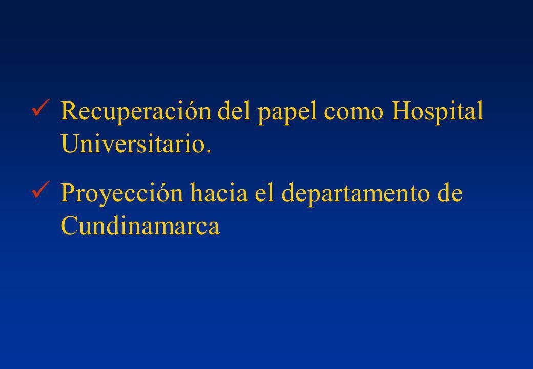 Recuperación del papel como Hospital Universitario. Proyección hacia el departamento de Cundinamarca