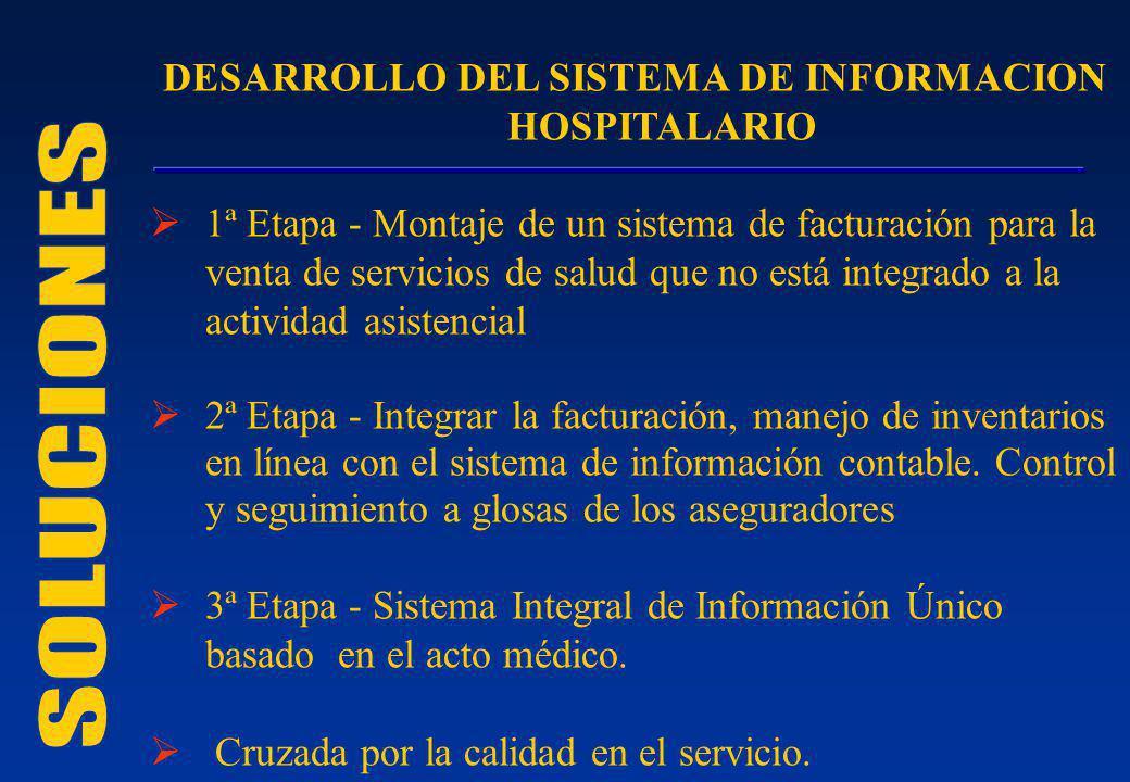 DESARROLLO DEL SISTEMA DE INFORMACION HOSPITALARIO 1ª Etapa - Montaje de un sistema de facturación para la venta de servicios de salud que no está int