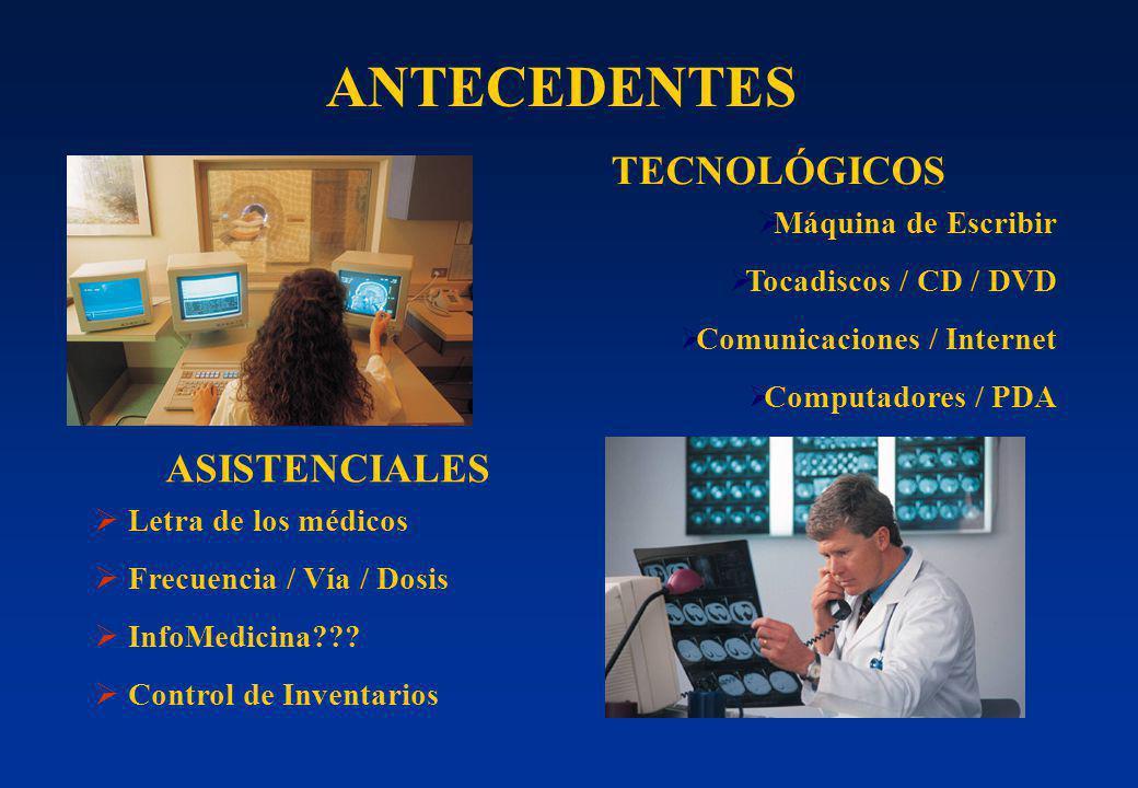 ANTECEDENTES TECNOLÓGICOS Máquina de Escribir Tocadiscos / CD / DVD Comunicaciones / Internet Computadores / PDA ASISTENCIALES Letra de los médicos Fr