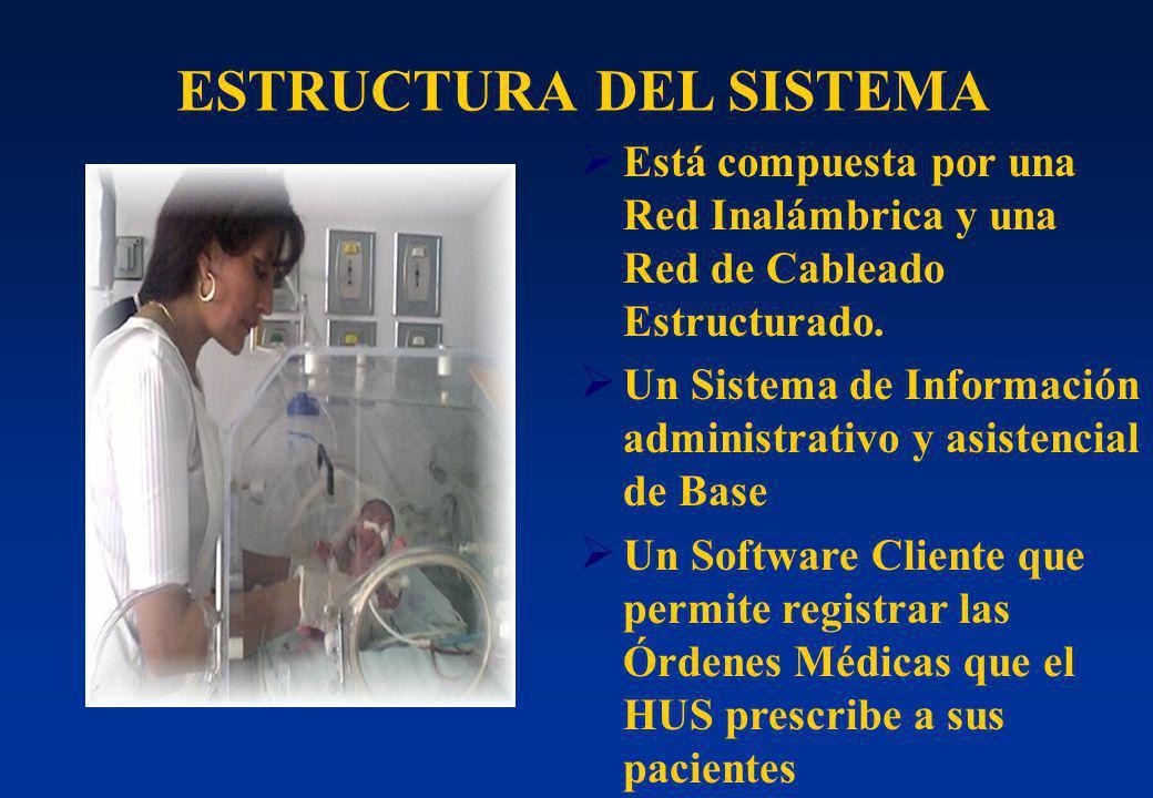 Está compuesta por una Red Inalámbrica y una Red de Cableado Estructurado. Un Sistema de Información administrativo y asistencial de Base Un Software