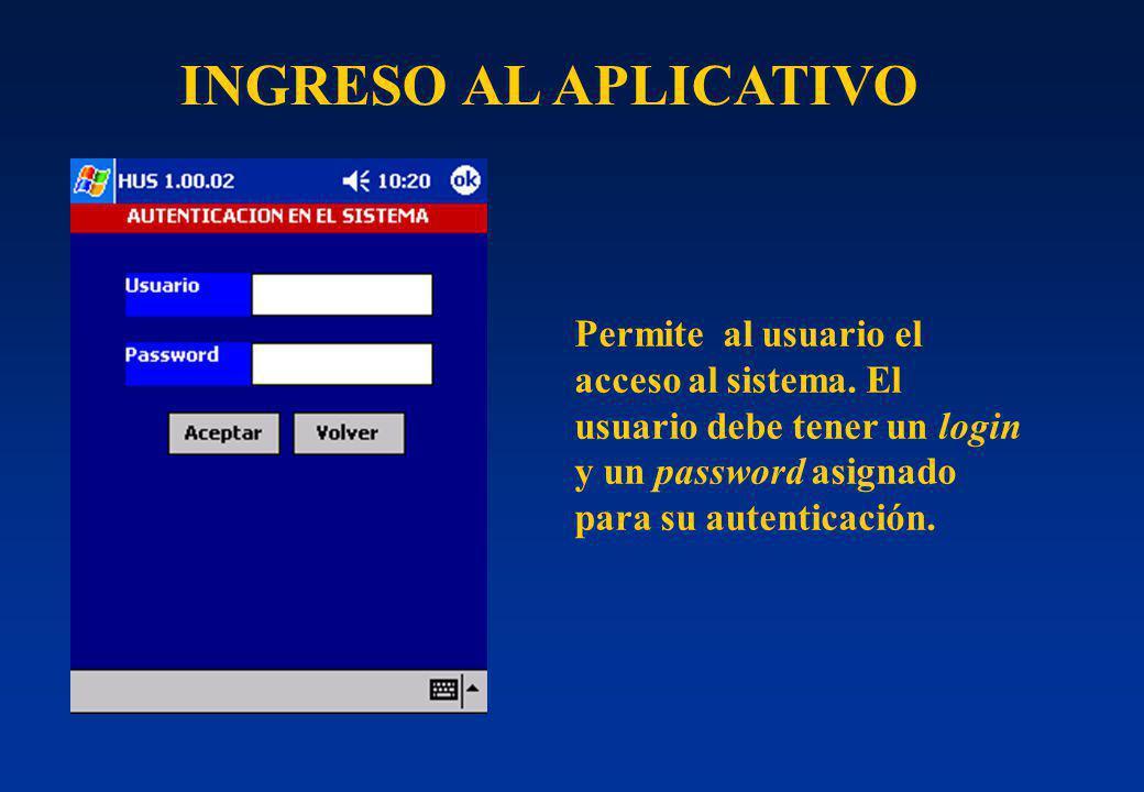 INGRESO AL APLICATIVO Permite al usuario el acceso al sistema. El usuario debe tener un login y un password asignado para su autenticación.
