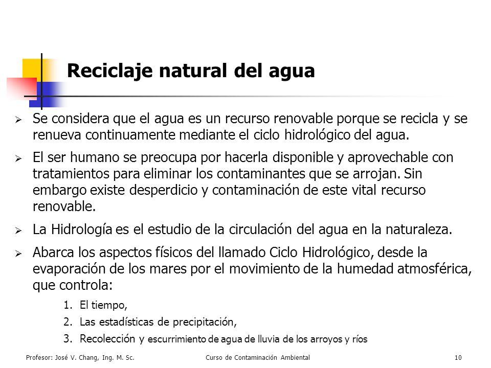 Profesor: José V. Chang, Ing. M. Sc.Curso de Contaminación Ambiental10 Reciclaje natural del agua Se considera que el agua es un recurso renovable por
