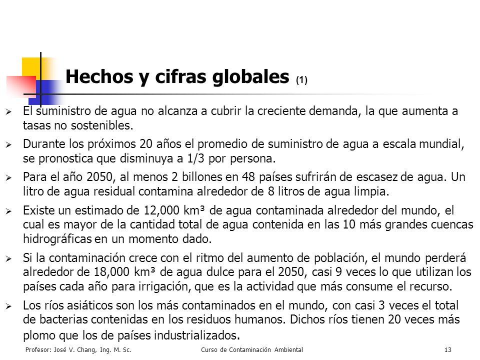 Profesor: José V. Chang, Ing. M. Sc.Curso de Contaminación Ambiental13 Hechos y cifras globales (1) El suministro de agua no alcanza a cubrir la creci