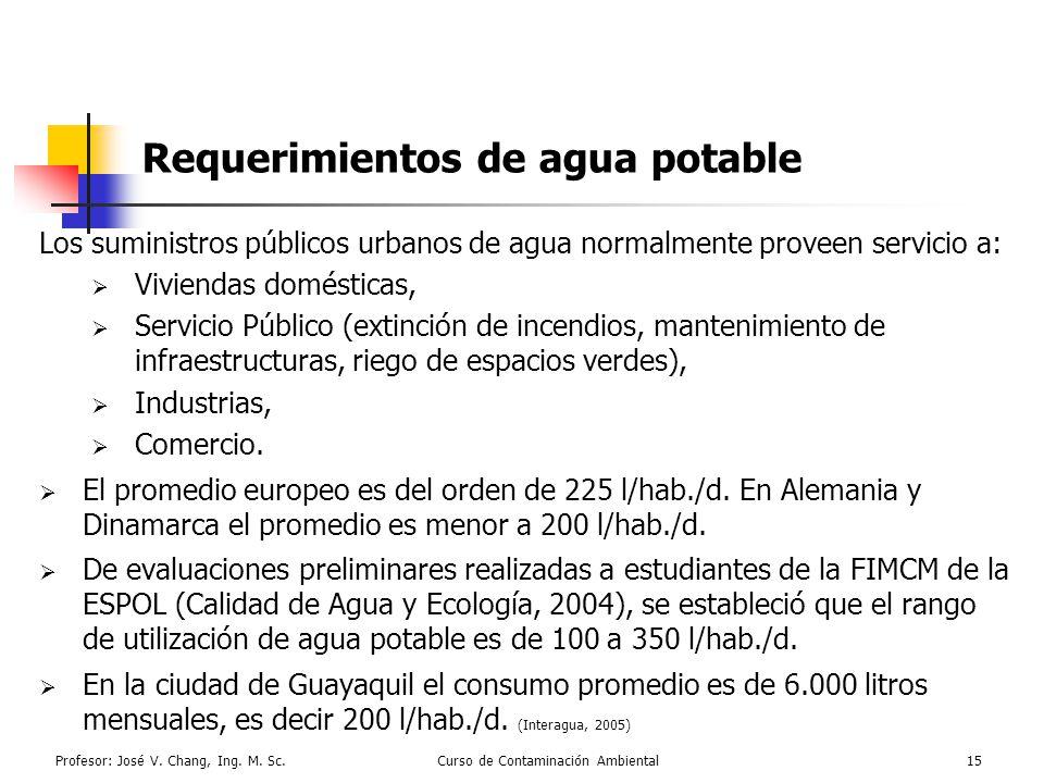 Profesor: José V. Chang, Ing. M. Sc.Curso de Contaminación Ambiental15 Requerimientos de agua potable Los suministros públicos urbanos de agua normalm