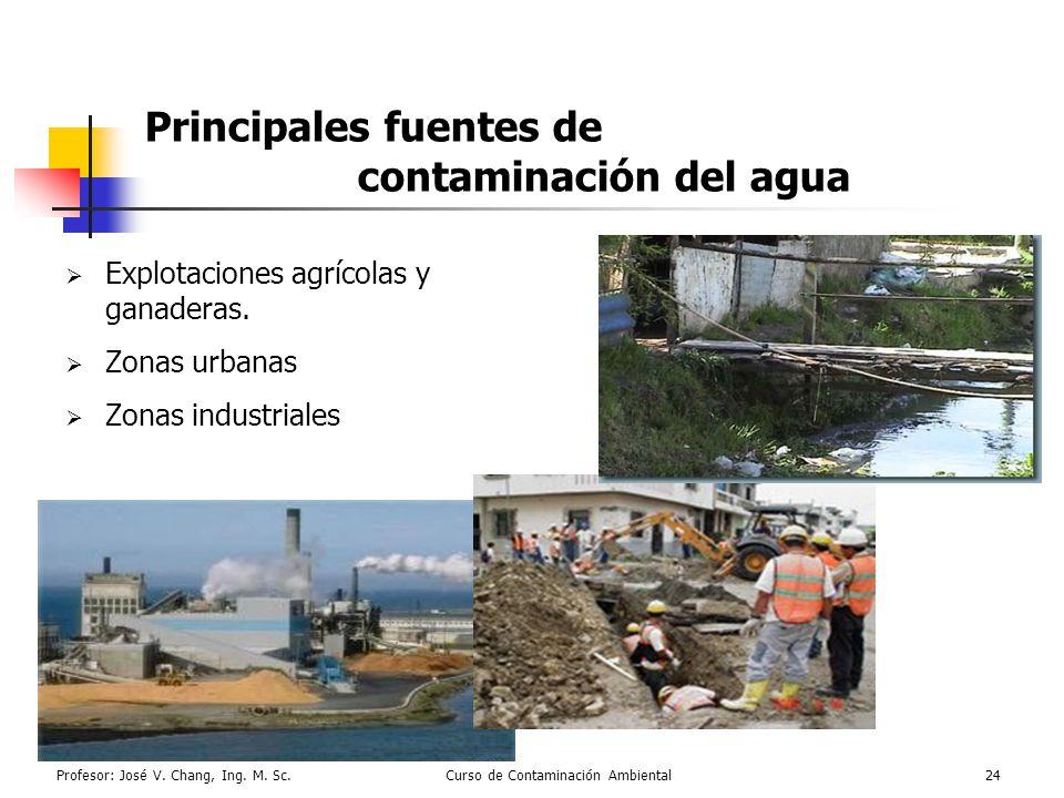Profesor: José V. Chang, Ing. M. Sc.Curso de Contaminación Ambiental24 Principales fuentes de contaminación del agua Explotaciones agrícolas y ganader