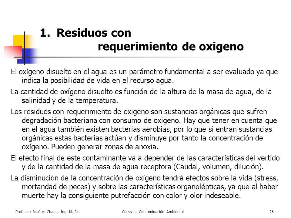 Profesor: José V. Chang, Ing. M. Sc.Curso de Contaminación Ambiental26 1.Residuos con requerimiento de oxigeno El oxígeno disuelto en el agua es un pa