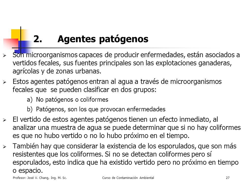 Profesor: José V. Chang, Ing. M. Sc.Curso de Contaminación Ambiental27 2.Agentes patógenos Son microorganismos capaces de producir enfermedades, están