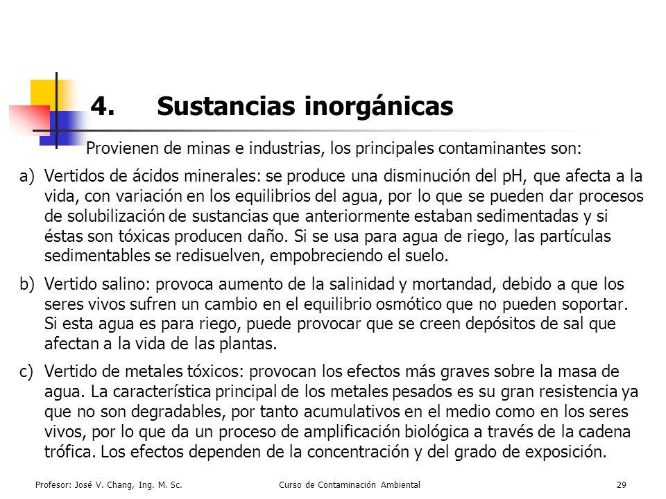 Profesor: José V. Chang, Ing. M. Sc.Curso de Contaminación Ambiental29 4.Sustancias inorgánicas Provienen de minas e industrias, los principales conta